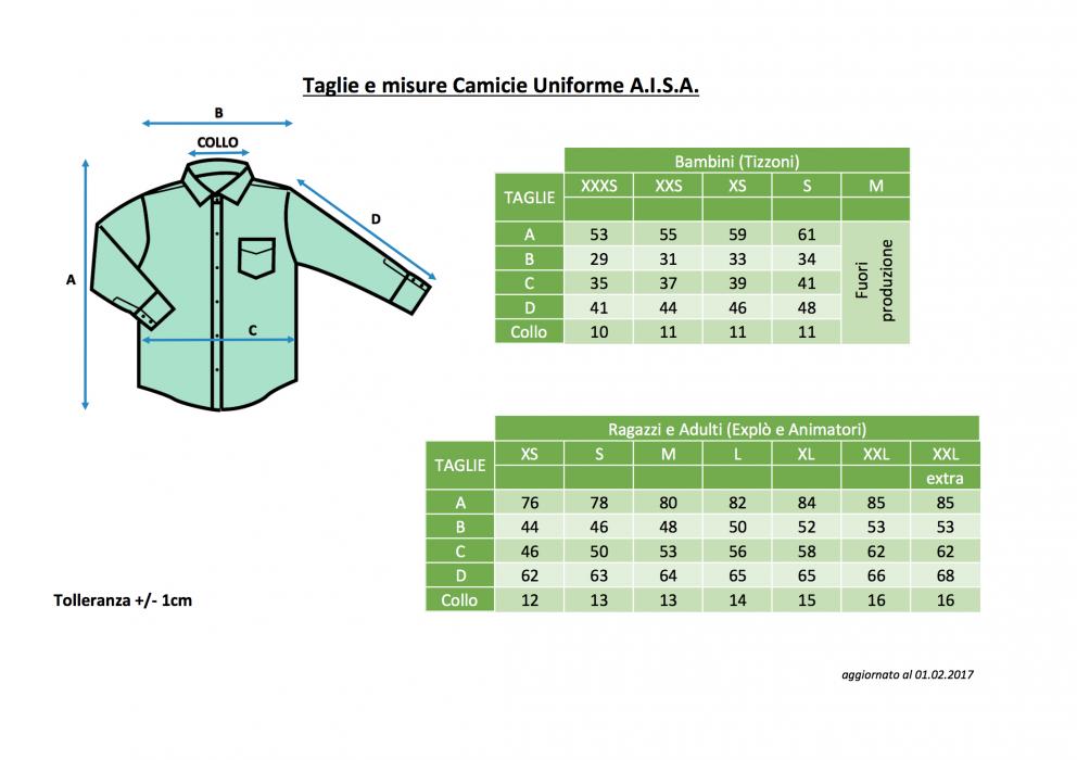 the latest 8a874 3abc3 Taglie camicie - Giovani Avventisti - Unione Italiana delle ...